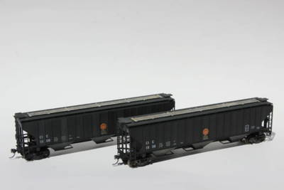 Here are two HO scale cars representing the Crandic Railroad hopper cars from the Pittsburgh and Lake Erie railroad.  They will be on loan to the Iowa Children's Museum for use on their HO layout.